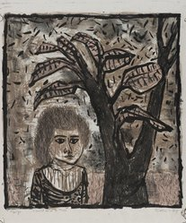 Eleanor Coen (American, 1916-2010). <em>Child and a Tree</em>, 1948. Lithograph on wove paper, Image: 12 1/8 x 11 1/8 in. (30.8 x 28.3 cm). Brooklyn Museum, 49.72. © artist or artist's estate (Photo: Brooklyn Museum, 49.72_PS4.jpg)