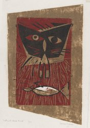 Leona Pierce (American, 1922-2002). <em>Cat with Dead Bird</em>, 1949. Woodcut on paper, 9 1/2 x 6 in. (24.2 x 15.2 cm). Brooklyn Museum, 49.78. © artist or artist's estate (Photo: Brooklyn Museum, 49.78_PS4.jpg)