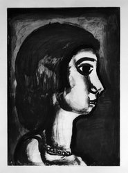 Georges Rouault (French, 1871-1958). <em>Fille Dite de Joie.</em>, 1922. Etching, aquatint, and heliogravure on laid Arches paper, 20 1/16 x 14 7/16 in. (51 x 36.7 cm). Brooklyn Museum, Frank L. Babbott Fund, 50.15.14. © artist or artist's estate (Photo: Brooklyn Museum, 50.15.14_bw_IMLS.jpg)
