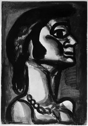 Georges Rouault (French, 1871-1958). <em>En Bouche qui Fut FraÎche, Goût de Fiel.</em>, 1922. Etching, aquatint, and heliogravure on laid Arches paper, 19 13/16 x 13 3/4 in. (50.3 x 35 cm). Brooklyn Museum, Frank L. Babbott Fund, 50.15.15. © artist or artist's estate (Photo: Brooklyn Museum, 50.15.15_bw_IMLS.jpg)