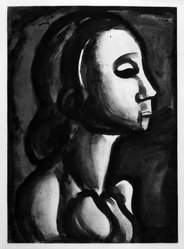 Georges Rouault (French, 1871-1958). <em>Dame du Haut-Quartier Croit Prendre Pour le Ciel Place Réservée.</em>, 1922. Etching, aquatint, and heliogravure on laid Arches paper, 22 7/16 x 16 5/16 in. (57 x 41.4 cm). Brooklyn Museum, Frank L. Babbott Fund, 50.15.16. © artist or artist's estate (Photo: Brooklyn Museum, 50.15.16_bw_IMLS.jpg)
