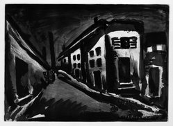 Georges Rouault (French, 1871-1958). <em>Rue des Solitaires.</em>, 1922. Etching, aquatint, and heliogravure on laid Arches paper, 14 3/8 x 19 15/16 in. (36.5 x 50.6 cm). Brooklyn Museum, Frank L. Babbott Fund, 50.15.23. © artist or artist's estate (Photo: Brooklyn Museum, 50.15.23_bw_IMLS.jpg)