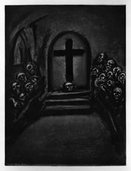 "Georges Rouault (French, 1871-1958). <em>""Celui qui Croit en Moi, Fût-Il Mort, Vivra.,""</em> 1923. Etching, aquatint, and heliogravure on laid Arches paper, 22 11/16 x 17 1/8 in. (57.6 x 43.5 cm). Brooklyn Museum, Frank L. Babbott Fund, 50.15.28. © artist or artist's estate (Photo: Brooklyn Museum, 50.15.28_bw_IMLS.jpg)"