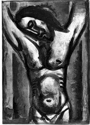 "Georges Rouault (French, 1871-1958). <em>""Jésus Sera en Agonie Jusqu'à la Fin du Monde…,""</em> 1926. Etching, aquatint, and heliogravure on laid Arches paper, 22 15/16 x 16 1/4 in. (58.3 x 41.3 cm). Brooklyn Museum, Frank L. Babbott Fund, 50.15.35. © artist or artist's estate (Photo: Brooklyn Museum, 50.15.35_acetate_bw.jpg)"