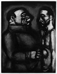Georges Rouault (French, 1871-1958). <em>Face à Face.</em>, 1922. Etching, aquatint, and heliogravure on laid Arches paper, 22 11/16 x 17 3/16 in. (57.7 x 43.7 cm). Brooklyn Museum, Frank L. Babbott Fund, 50.15.40. © artist or artist's estate (Photo: Brooklyn Museum, 50.15.40_bw_IMLS.jpg)