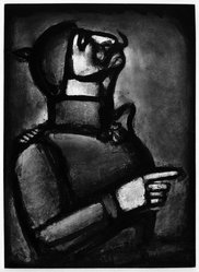 "Georges Rouault (French, 1871-1958). <em>""Plus le Coeur est Noble, Moins le Col est Roide.,""</em> 1927. Etching, aquatint, and heliogravure on laid Arches paper, 22 15/16 x 16 5/8 in. (58.3 x 42.3 cm). Brooklyn Museum, Frank L. Babbott Fund, 50.15.49. © artist or artist's estate (Photo: Brooklyn Museum, 50.15.49_bw_IMLS.jpg)"