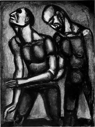Georges Rouault (French, 1871-1958). <em>L'Aveugle Parfois Consolé le Voyant.</em>, 1926. Etching, aquatint, and heliogravure on laid Arches paper, 22 15/16 x 17 1/16 in. (58.3 x 43.4 cm). Brooklyn Museum, Frank L. Babbott Fund, 50.15.55. © artist or artist's estate (Photo: Brooklyn Museum, 50.15.55_acetate_bw.jpg)