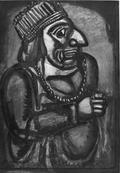 Georges Rouault (French, 1871-1958). <em>Nous Croyant Rois.</em>, 1926. Etching, aquatint, and heliogravure on laid Arches paper, 23 1/8 x 16 9/16 in. (58.8 x 42 cm). Brooklyn Museum, Frank L. Babbott Fund, 50.15.7. © artist or artist's estate (Photo: Brooklyn Museum, 50.15.7_acetate_bw.jpg)