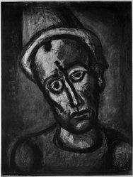Georges Rouault (French, 1871-1958). <em>Qui ne se Grime Pas?</em>, 1922. Etching, aquatint, and heliogravure on laid Arches paper, 22 5/16 x 16 7/8 in. (56.6 x 42.9 cm). Brooklyn Museum, Frank L. Babbott Fund, 50.15.8. © artist or artist's estate (Photo: Brooklyn Museum, 50.15.8_bw_IMLS.jpg)