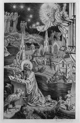 "Stephen Gooden (British, 1892-1955). <em>St. John in Patmos.  From Series ""The Revelation of St. John the Divine,""</em> 1939. Engraving on laid paper, 8 1/4 x 5 1/4 in. (21 x 13.3 cm). Brooklyn Museum, Frank L. Babbott Fund, 50.16.3. © artist or artist's estate (Photo: Brooklyn Museum, 50.16.3_bw.jpg)"