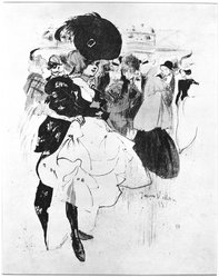 Jacques Villon (French, 1875-1963). <em>Dancer at Moulin Rouge</em>, 1899. Lithograph on heavy Japan paper, 8 3/8 x 11 7/16 in. (21.2 x 29 cm). Brooklyn Museum, Frederick Loeser Fund, 50.164.1. © artist or artist's estate (Photo: Brooklyn Museum, 50.164.1_acetate_bw.jpg)