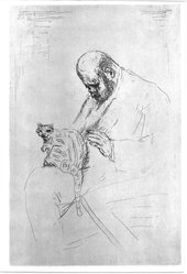 Pierre Bonnard (French, 1867-1947). <em>Portrait of Ambroise Vollard (Portrait d'Ambroise Vollard)</em>, ca. 1924. Etching on heavy laid paper, Image (Plate): 13 5/8 x 9 in. (34.6 x 22.9 cm). Brooklyn Museum, Frederick Loeser Fund, 50.164.6. © artist or artist's estate (Photo: Brooklyn Museum, 50.164.6_acetate_bw.jpg)