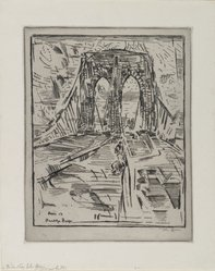 John Marin (American, 1870-1953). <em>Brooklyn Bridge</em>, 1913. Drypoint and etching on wove paper, Sheet: 14 x 11 1/8 in. (35.6 x 28.3 cm). Brooklyn Museum, Dick S. Ramsay Fund, 50.166.2. © artist or artist's estate (Photo: Brooklyn Museum, 50.166.2_PS1.jpg)
