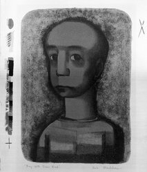 Robert Blackburn (American, 1920-2003). <em>Boy with Green Head</em>, 1948. Lithograph, sheet: 20 x 14 1/4 in. (50.8 x 36.2 cm). Brooklyn Museum, Dick S. Ramsay Fund, 50.20. © artist or artist's estate (Photo: Brooklyn Museum, 50.20_bw.jpg)