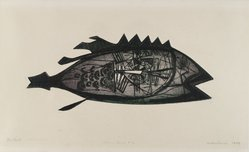 Arthur Deshaies (American, 1920-2011). <em>The Fish</em>, 1949. Engraving and etching on wove paper, 11 1/4 x 4 3/4 in. (28.6 x 12.1 cm). Brooklyn Museum, Dick S. Ramsay Fund, 50.22. © artist or artist's estate (Photo: Brooklyn Museum, 50.22_PS4.jpg)