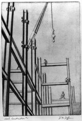 Julius Dan Geffen. <em>Steel Construction, No. 1</em>, 1949. Etching Brooklyn Museum, Dick S. Ramsay Fund, 50.23. © artist or artist's estate (Photo: Brooklyn Museum, 50.23_acetate_bw.jpg)