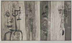 Harriet Nurkse Berger (American, 1916-1978). <em>Figures in a Garden</em>, mid-20th century. Engraving and aquatint, 9 15/16 × 17 1/2 in. (25.3 × 44.5 cm). Brooklyn Museum, Dick S. Ramsay Fund, 50.31. © artist or artist's estate (Photo: , 50.31_PS9.jpg)