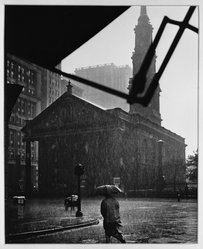 Paul Weller (American, 1912-2000). <em>Lower Broadway on a Rainy Day, N. Y.</em>, early to mid-20th century. Chlorobromide print Brooklyn Museum, Gift of the artist, 50.49.2. © artist or artist's estate (Photo: Brooklyn Museum, 50.49.2_acetate_bw.jpg)