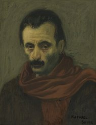 Raphael Soyer (American, born Russia, 1899-1987). <em>Arshile Gorky</em>, 1940. Oil on canvas, 12 x 9 in. (30.5 x 22.9 cm). Brooklyn Museum, Gift of Nat Shapiro in memory of his father, Louis Shapiro, 50.82. © artist or artist's estate (Photo: Brooklyn Museum, 50.82.jpg)
