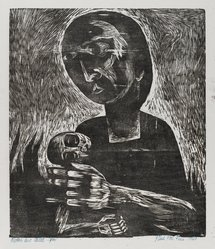 Paul Peter Piech (American, 1920-1996). <em>Mother and Child</em>, 1949. Woodcut on paper, sheet: 15 x 13 3/8 in. (38.1 x 34 cm). Brooklyn Museum, Gift of the artist, 51.152.1. © artist or artist's estate (Photo: Brooklyn Museum, 51.152.1_PS4.jpg)
