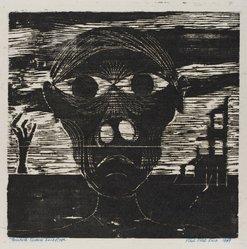 Paul Peter Piech (American, 1920-1996). <em>Twentieth - Century Landscape</em>, 1949. Woodcut on paper, sheet: 16 5/8 x 14 3/16 in. (42.2 x 36 cm). Brooklyn Museum, Gift of the artist, 51.152.2. © artist or artist's estate (Photo: Brooklyn Museum, 51.152.2_PS4.jpg)