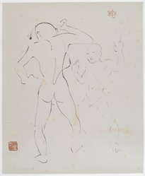 Isamu Noguchi (American, 1904-1988). <em>Two Figures</em>, 1930. Chinese brush and ink on heavy paper, drawing: 21 7/8 x 18 1/16 in. (55.6 x 45.9 cm). Brooklyn Museum, Gift of Mrs. Paul Nitze, 51.24.1. © artist or artist's estate (Photo: Brooklyn Museum, 51.24.1_PS2.jpg)