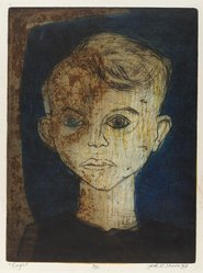 Jack D. Moore (American, 1926-1988). <em>Roger</em>, 1949. Intaglio etching on paper, sheet: 16 5/16 x 12 3/16 in. (41.5 x 31 cm). Brooklyn Museum, Dick S. Ramsay Fund, 51.46. © artist or artist's estate (Photo: Brooklyn Museum, 51.46_PS4.jpg)
