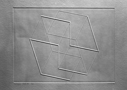 Josef Albers (American, 1888-1976). <em>Solo V.</em>, 1958. Inkless intaglio on wove paper, Plate: 6 5/8 x 8 11/16 in. (16.8 x 22 cm). Brooklyn Museum, A. Augustus Healy Fund, 51.56.6. © artist or artist's estate (Photo: Brooklyn Museum, 51.56.6_acetate_bw.jpg)