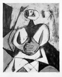 Rufino Tamayo (Mexican, 1899-1991). <em>Man With Hands Clasped</em>, 1950. Lithograph on paper, 20 3/4 x 17 in. (52.7 x 43.2 cm). Brooklyn Museum, Dick S. Ramsay Fund, 51.69.1. © artist or artist's estate (Photo: Brooklyn Museum, 51.69.1_bw.jpg)