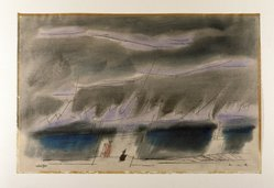 Lyonel Feininger (American, 1871-1956). <em>Jagged Clouds, I</em>, 1950. Watercolor and pen and ink on cream colored paper, Sheet: 12 7/16 x 18 7/8 in. (31.6 x 48 cm). Brooklyn Museum, Carll H. de Silver Fund, 51.90. © artist or artist's estate (Photo: Brooklyn Museum, 51.90_SL1.jpg)