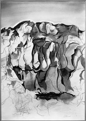 Leslie J. Powell (American, 1906-1978). <em>La Pedregal</em>. Watercolor on paper, 24 3/16 x 17 1/8 in. (61.4 x 43.5 cm). Brooklyn Museum, Gift of Charles Leonard Pfeiffer, 51.98. © artist or artist's estate (Photo: Brooklyn Museum, 51.98_acetate_bw.jpg)