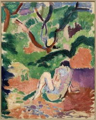 Henri Matisse (French, 1869-1954). <em>Nude in a Wood (Nu dans la forêt; Nu assis dans le bois)</em>, 1906. Oil on board mounted on panel, 16 x 12 3/4 in. (40.6 x 32.4 cm). Brooklyn Museum, Gift of George F. Of, 52.150. © artist or artist's estate (Photo: Brooklyn Museum, 52.150_cropped_PS1.jpg)