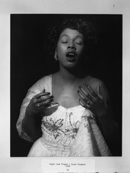 Joseph Breitenbach (American, 1896-1984). <em>Night Club Singer, Sarah Vaughan</em>, 1949. Gelatin silver photograph, 14 x 11 in. (35.6 x 27.9 cm). Brooklyn Museum, Gift of the artist, 52.163.1. © artist or artist's estate (Photo: Brooklyn Museum, 52.163.1_acetate_bw.jpg)