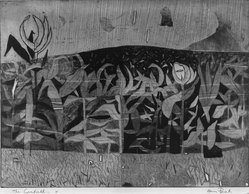 Harry Brorby (American, 1927-2012). <em>The Cornfield</em>, 1951. Etching and engraving on paper, Image: 17 13/16 x 23 7/8 in. (45.3 x 60.7 cm). Brooklyn Museum, Dick S. Ramsay Fund, 52.19. © artist or artist's estate (Photo: Brooklyn Museum, 52.19_acetate_bw.jpg)