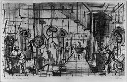 James Louis Steg (American, born 1922). <em>The Punch Room</em>, 1951. Lithograph on cream-colored wove paper, Image: 13 13/16 x 23 in. (35.1 x 58.4 cm). Brooklyn Museum, Dick S. Ramsay Fund, 52.28. © artist or artist's estate (Photo: Brooklyn Museum, 52.28_acetate_bw.jpg)