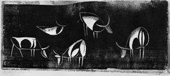 Ewald Mataré (German, 1887-1965). <em>Cows</em>. Woodcut on laid Italian paper, 7 7/8 x 17 9/16 in. (20 x 44.6 cm). Brooklyn Museum, 53.117. © artist or artist's estate (Photo: Brooklyn Museum, 53.117_acetate_bw.jpg)