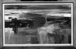 Reuben Tam (American, 1916-1991). <em>Calm and Sea Glint</em>, 1952. Watercolor on paper, Image: 18 x 30 in. (45.7 x 76.2 cm). Brooklyn Museum, Dick S. Ramsay Fund, 53.143. © artist or artist's estate (Photo: Brooklyn Museum, 53.143_framed_acetate_bw.jpg)