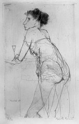 Marcello Muccini (Italian, 1926-1978). <em>Standing Woman Holding Wine Glass</em>, 1947. Drypoint on heavy wove paper, 9 13/16 x 6 in. (25 x 15.2 cm). Brooklyn Museum, A. Augustus Healy Fund, 53.168.28. © artist or artist's estate (Photo: Brooklyn Museum, 53.168.28_acetate_bw.jpg)