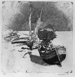 Renzo Vespignani (Italian, 1924-2001). <em>Boats, Sails and Umbrellas</em>, 1952. Etching on heavy wove paper, 9 3/8 x 9 1/2 in. (23.8 x 24.2 cm). Brooklyn Museum, A. Augustus Healy Fund, 53.168.33. © artist or artist's estate (Photo: Brooklyn Museum, 53.168.33_acetate_bw.jpg)