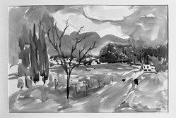 Mordechai Avniel (Israeli, born Russia, 1900-1989). <em>Haifa</em>. Watercolor, 13 13/16 x 19 5/8 in.  (35.1 x 49.8 cm). Brooklyn Museum, Museum Collection Fund, 53.192. © artist or artist's estate (Photo: Brooklyn Museum, 53.192_acetate_bw.jpg)