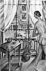 Fred Gardner (American, 1880-1952). <em>The Studio Window</em>, 1925 or 1926. Oil on canvas, 17 3/4 x 12 in. (45.1 x 30.5 cm). Brooklyn Museum, Gift of Adelaide Morris Gardener, 53.231. © artist or artist's estate (Photo: Brooklyn Museum, 53.231_bw.jpg)