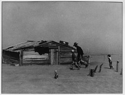 Arthur Rothstein (American, 1915-1985). <em>Farmer and Sons Walking in Dust Storm, Cimarron Co., Oklahoma</em>, April, 1936. Gelatin silver photograph, 10 1/4 x 13 5/16 in. (26 x 33.8 cm). Brooklyn Museum, Gift of the artist, 53.24.2g. © artist or artist's estate (Photo: Brooklyn Museum, 53.24.2g_acetate_bw.jpg)