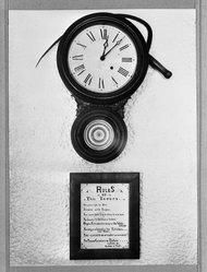 Arthur Rothstein (American, 1915-1985). <em>Clock and Sign in Tavern, Smuggler's Notch, Vermont</em>, September, 1937. Gelatin silver photograph, 13 3/8 x 9 7/8 in. (34 x 25.1 cm). Brooklyn Museum, Gift of the artist, 53.24.5b. © artist or artist's estate (Photo: Brooklyn Museum, 53.24.5b_acetate_bw.jpg)