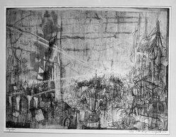 Eugene Dalzotto (American, 1925-2009). <em>Cityscape (Landscape) 1952</em>, 1952. Etching, 17 11/16 x 23 7/8 in. (45 x 60.6 cm). Brooklyn Museum, Dick S. Ramsay Fund, 53.34. © artist or artist's estate (Photo: Brooklyn Museum, 53.34_acetate_bw.jpg)