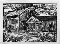 Fiske Boyd (American, 1895-1975). <em>Barns at Baptistown</em>, 1953. Woodcut on paper, 13 x 18 1/8 in. (33 x 46 cm). Brooklyn Museum, Dick S. Ramsay Fund, 53.37. © artist or artist's estate (Photo: Brooklyn Museum, 53.37_acetate_bw.jpg)