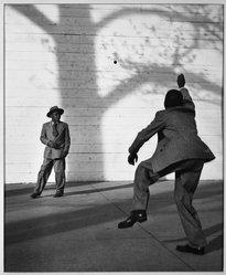 Muni Lieblein. <em>Ballplayers</em>, ca. 1953. Photograph Brooklyn Museum, Gift of the artist, 53.62.4. © artist or artist's estate (Photo: Brooklyn Museum, 53.62.4_acetate_bw.jpg)