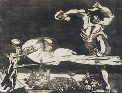 Bernard Reder (American, 1897-1963). <em>Giant Escaping Earth</em>, 1948. Woodcut on paper, sheet: 12 3/16 x 16 in. (31 x 40.6 cm). Brooklyn Museum, Dick S. Ramsay Fund, 54.110.1. © artist or artist's estate (Photo: Brooklyn Museum, 54.110.1_transp4971.jpg)