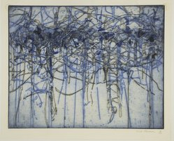Ned Griner (American, born 1928). <em>Blue</em>, 1954. Intaglio, image: 11 x 14 in. (27.9 x 35.6 cm). Brooklyn Museum, Gift of Indiana University Graphics Department, 54.135.3. © artist or artist's estate (Photo: Brooklyn Museum, 54.135.3_view1_PS12.jpg)