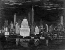 John Cunning (American, 1889-1953). <em>New York Skyline</em>. Oil, frame: 39 x 49 1/4 in. (99.1 x 125.1 cm). Brooklyn Museum, Gift of Mrs. John Cunning, 54.14. © artist or artist's estate (Photo: Brooklyn Museum, 54.14_acetate_bw.jpg)