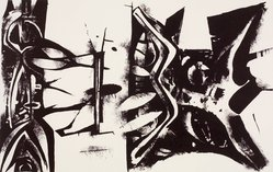 Roland Ginzel (American, born 1921). <em>Abstraction</em>, 1954. Lithograph, Sheet: 18 7/8 x 24 7/8 in. (47.9 x 63.2 cm). Brooklyn Museum, Gift of Artists Equity, Chicago Chapter, 54.153.33. © artist or artist's estate (Photo: Brooklyn Museum, 54.153.33.jpg)